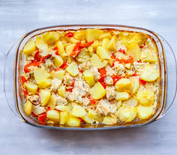 kartupeli ar vistu un saldo krējumu