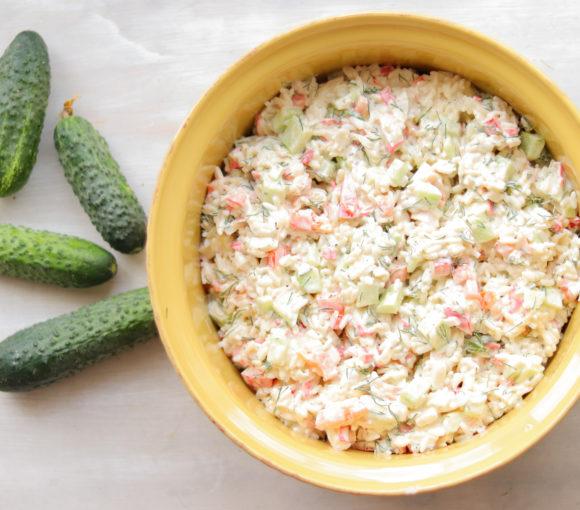 Krabju nūjiņu salāti. Recepte